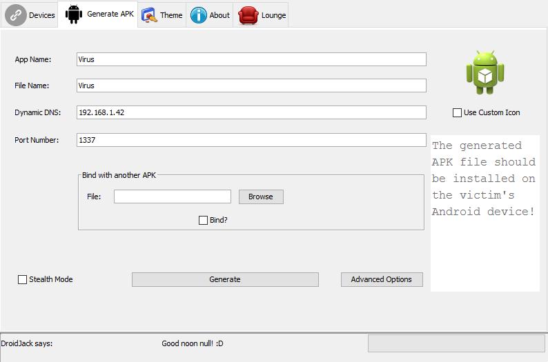 Configuración DroidJack