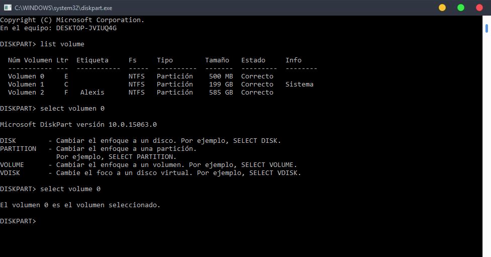 select volume diskpart