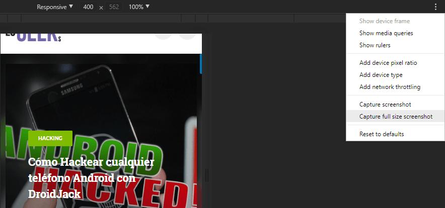 Capture full size screenshot en Chrome