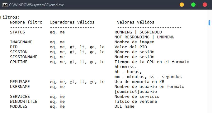 Filtros tasklist