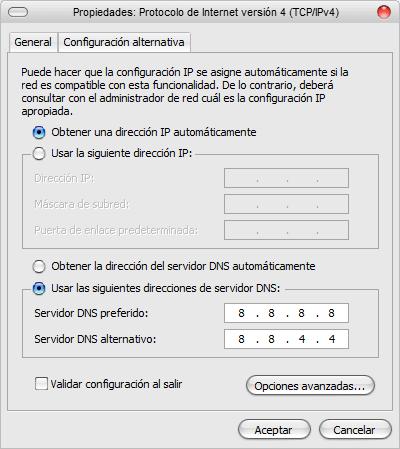Propiedades Red WiFi DNS