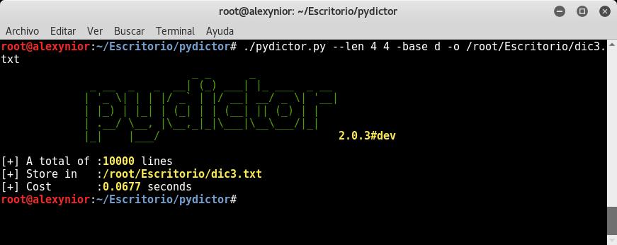 Ataque de Diccionario con pydictor