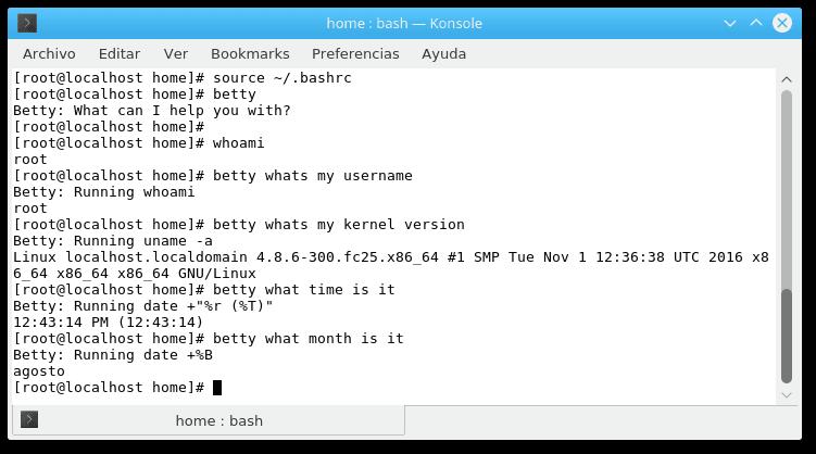 Ejemplos de uso para Betty en Linux