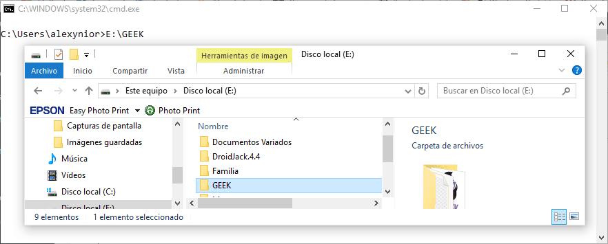 Arrastrar y soltar archivos en CMD
