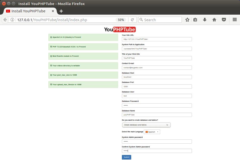 Configurar YouPHPTube