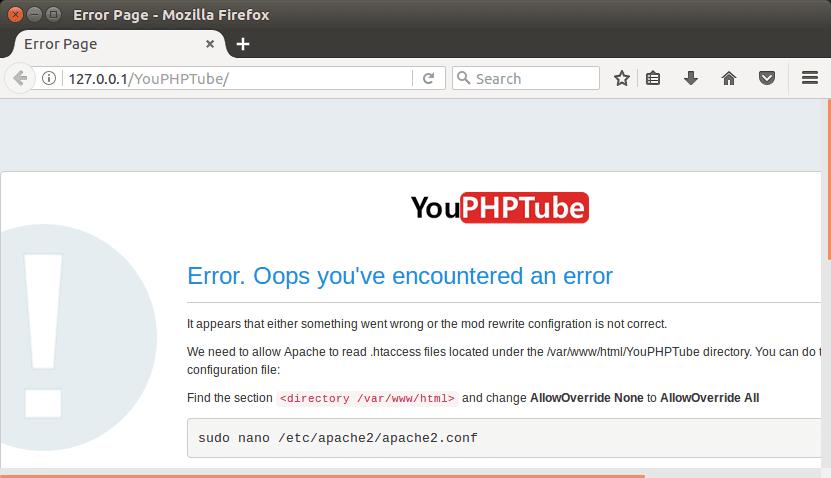 Error Page YouPHPTube
