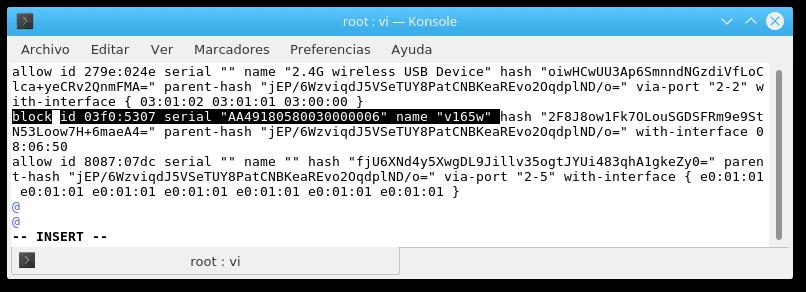 parámetro block ID USBGuard