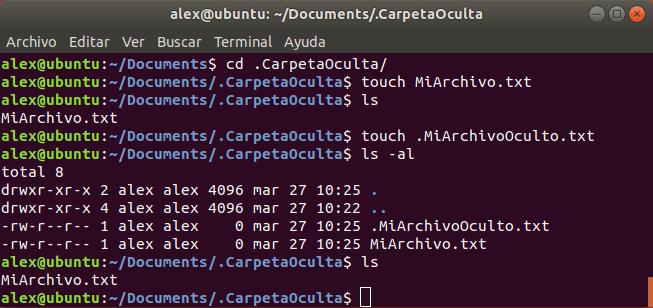Crear Archivo Oculto Linux