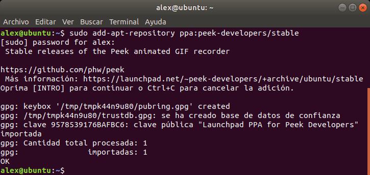 Instalar Peek en ubuntu
