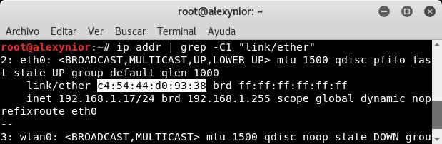 Comando ip addr grep -C1 linkether