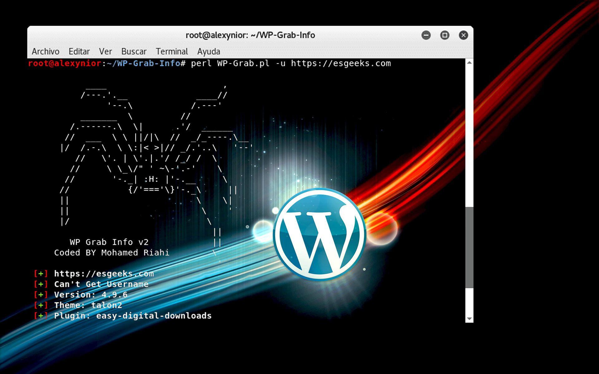Detectar Usuario Versión Tema Plugins WordPress con WP-Grab-Info