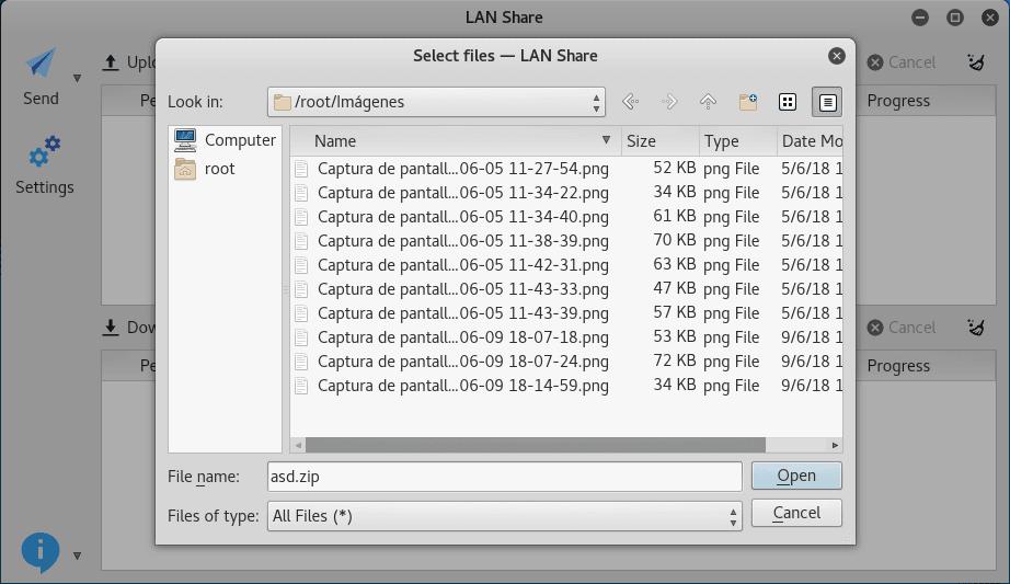 Enviar archivos dentro de misma LAN