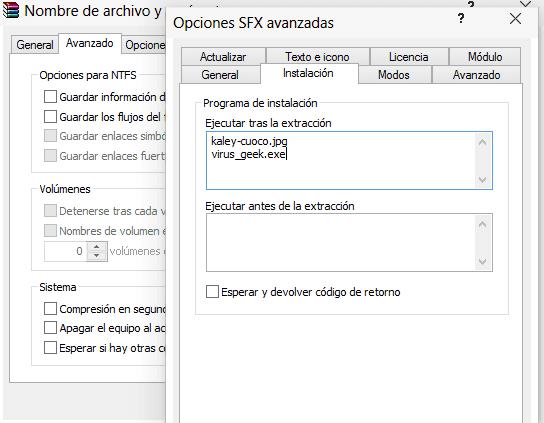 Opciones SFX Instalación