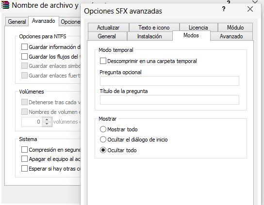 Opciones SFX Modos Ocultar todo