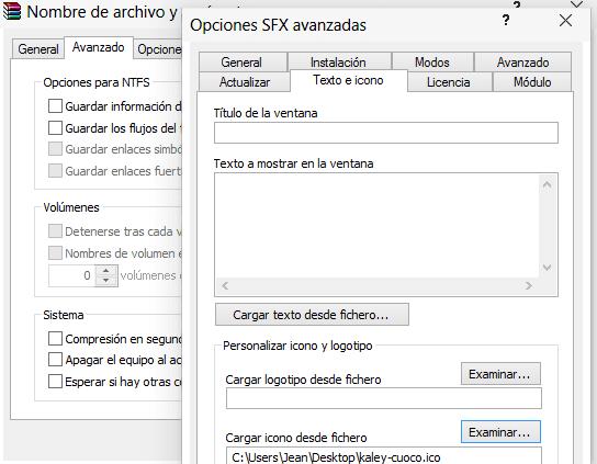 Opciones SFX Texto e Icono