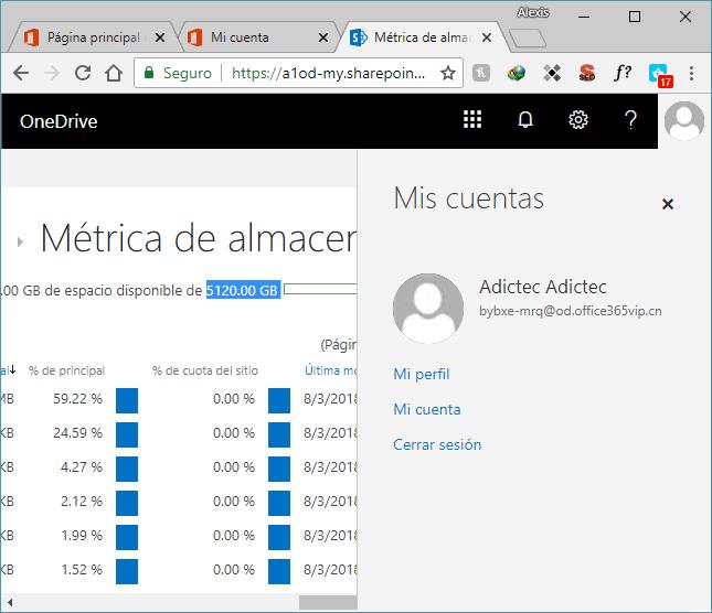 5120.00 GB de almacenamiento en OneDrive