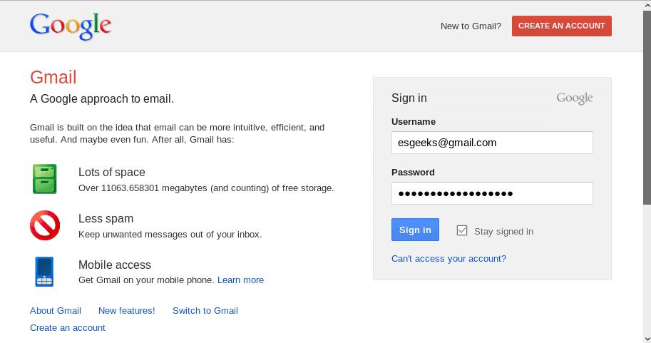 Plantilla GMail para Phishing