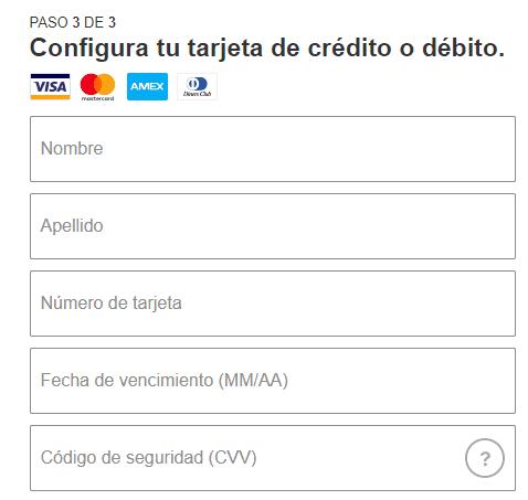 Formulario tarjeta de Crédito Netflix