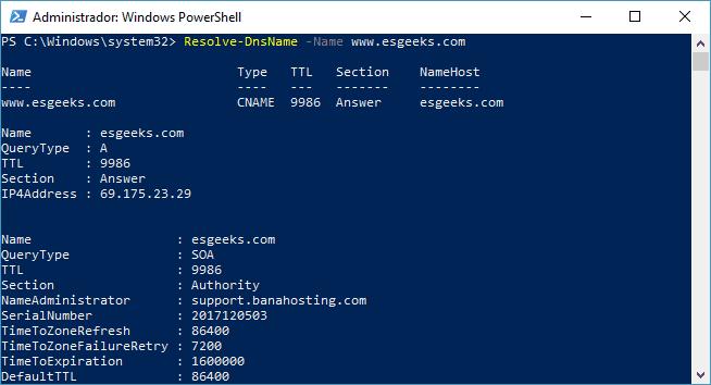Realizar resolución de consulta de nombre DNS con PowerShell