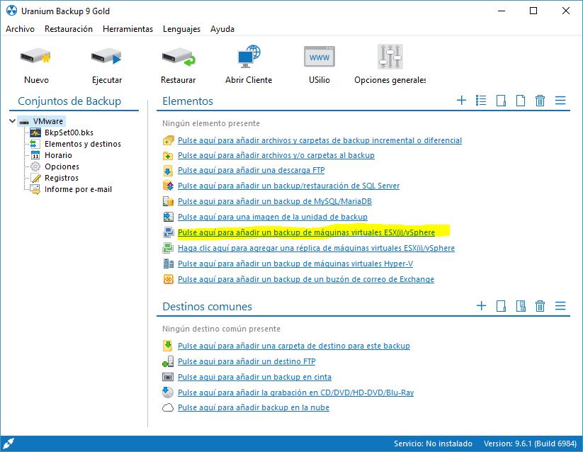 Crear copia de seguridad de VMware