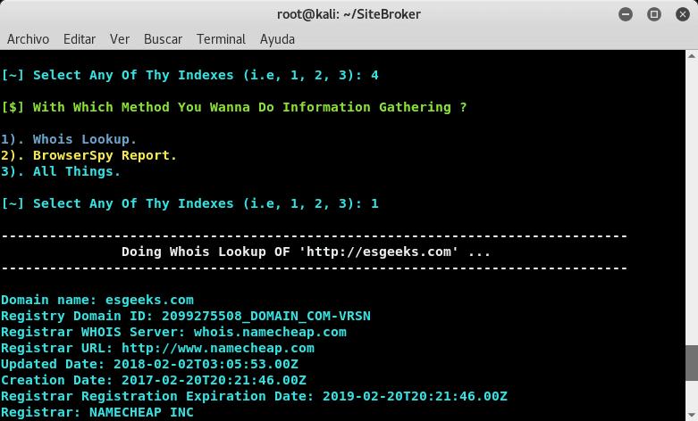 SiteBroker como Information Gathering
