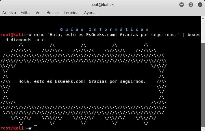 Texto ASCII centrado con Boxes