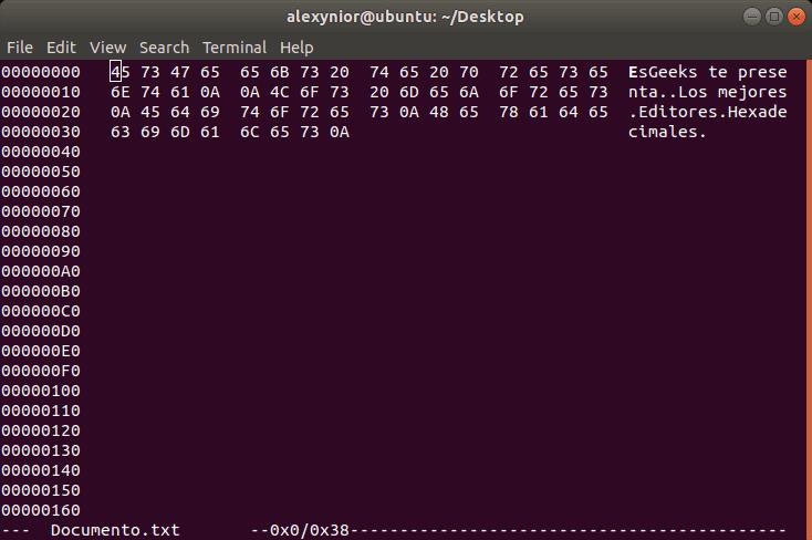Editor Hexedit xxd para Linux