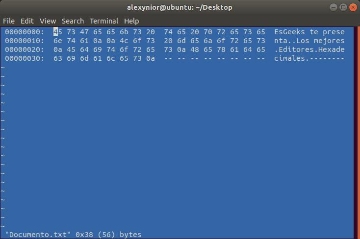 Editor hexadecimal Hexer para Linux
