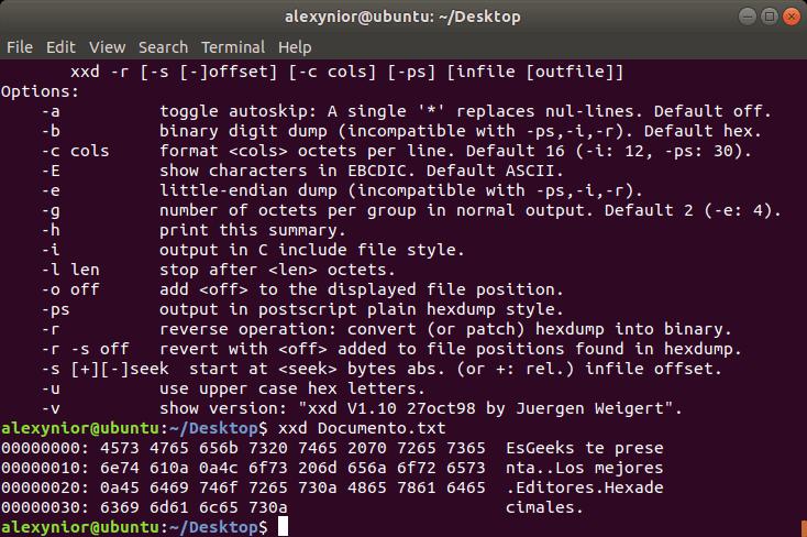 Editor hexadecimal xxd para Linux