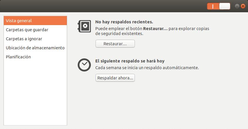 Backup con Deja Dup en un USB