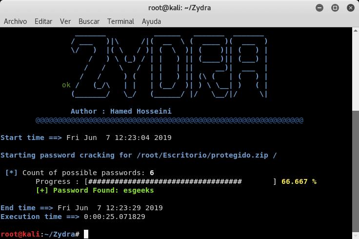 Descifrar contraseña ZIP con Zydra