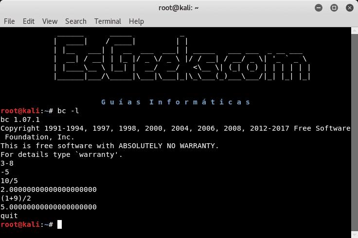 Comando bc en Linux para calcular