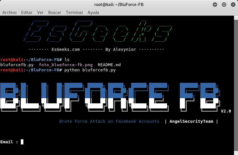 Script bluforcefb.py para fuerza bruta
