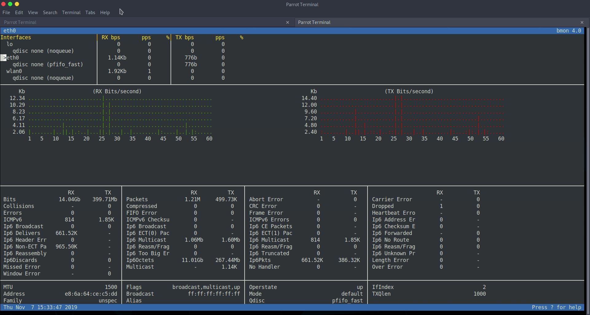 Interfaz completa de bmon