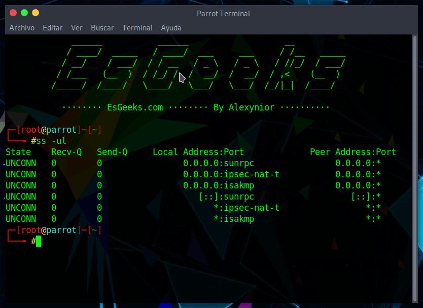 Escaneo de puertos UDP con ss