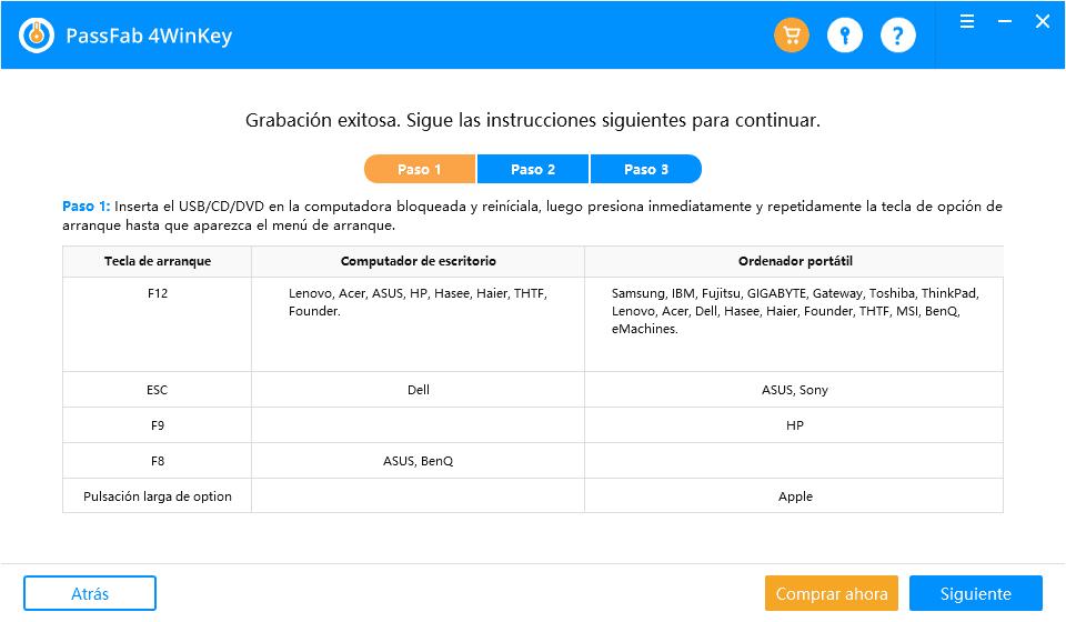 Guía de uso de PassFab 4WinKey