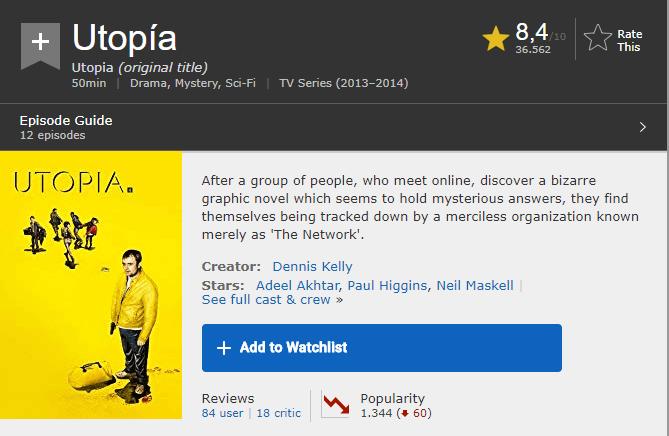 Serie Utopia en IMDB