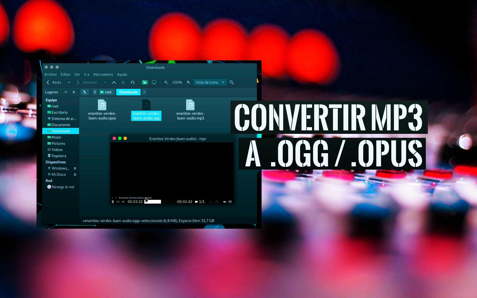 Convertir archivos música MP3 a ogg opus Linux