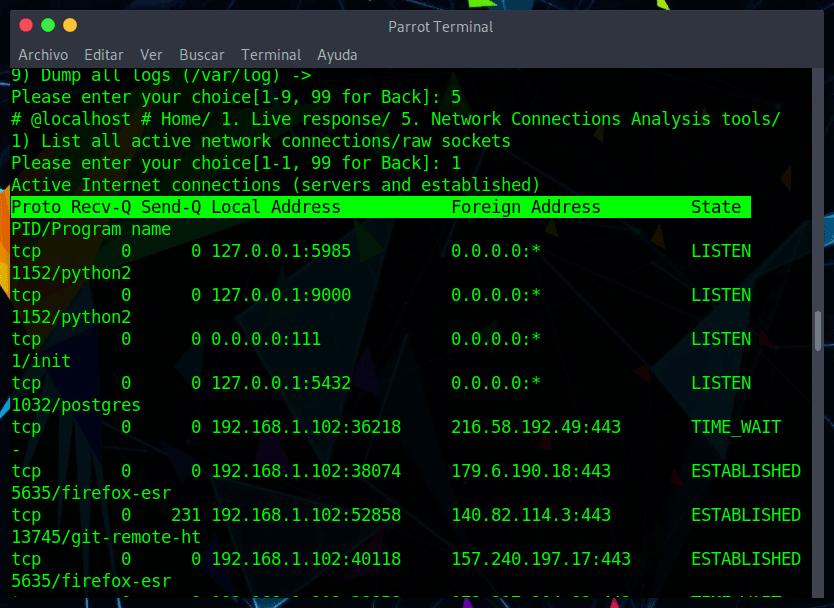 Listar todas las conexiones de red activas sin procesar