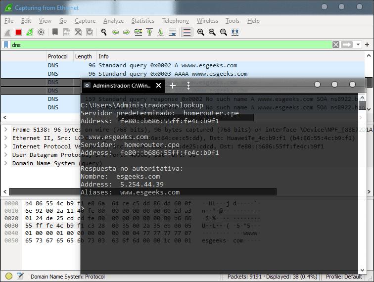 Capturar solicitudes y respuestas DNS