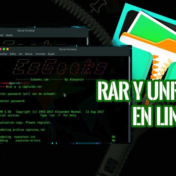 Abrir extraer crear archivos RAR Linux