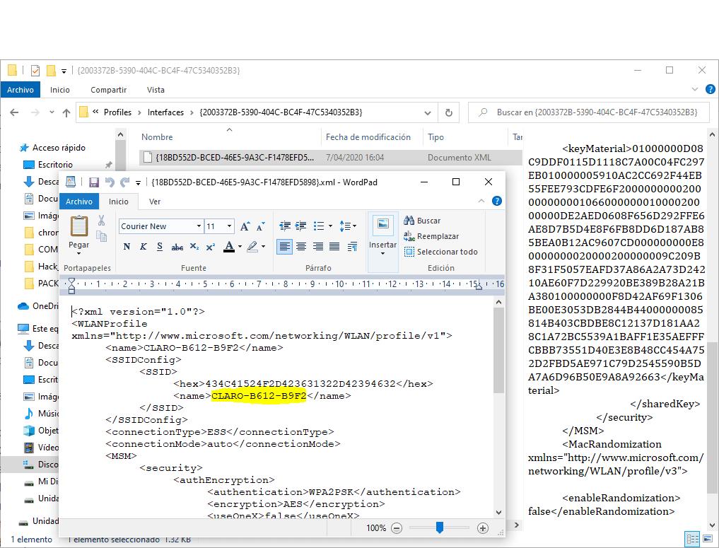 Contraseñas WiFi en C Program Data Microsoft Wlansvc Profiles Interfaces