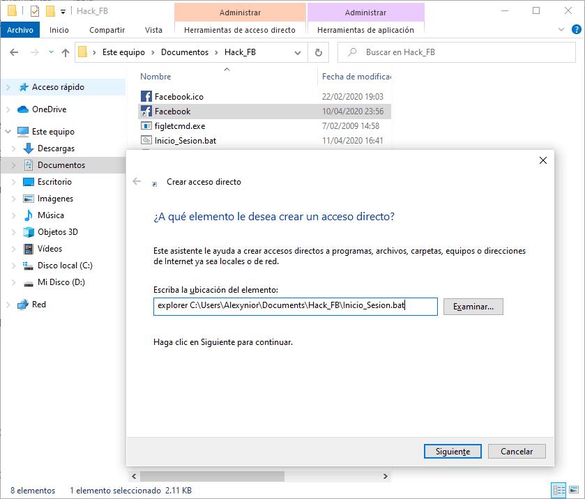 Crear acceso directo para barra de tareas