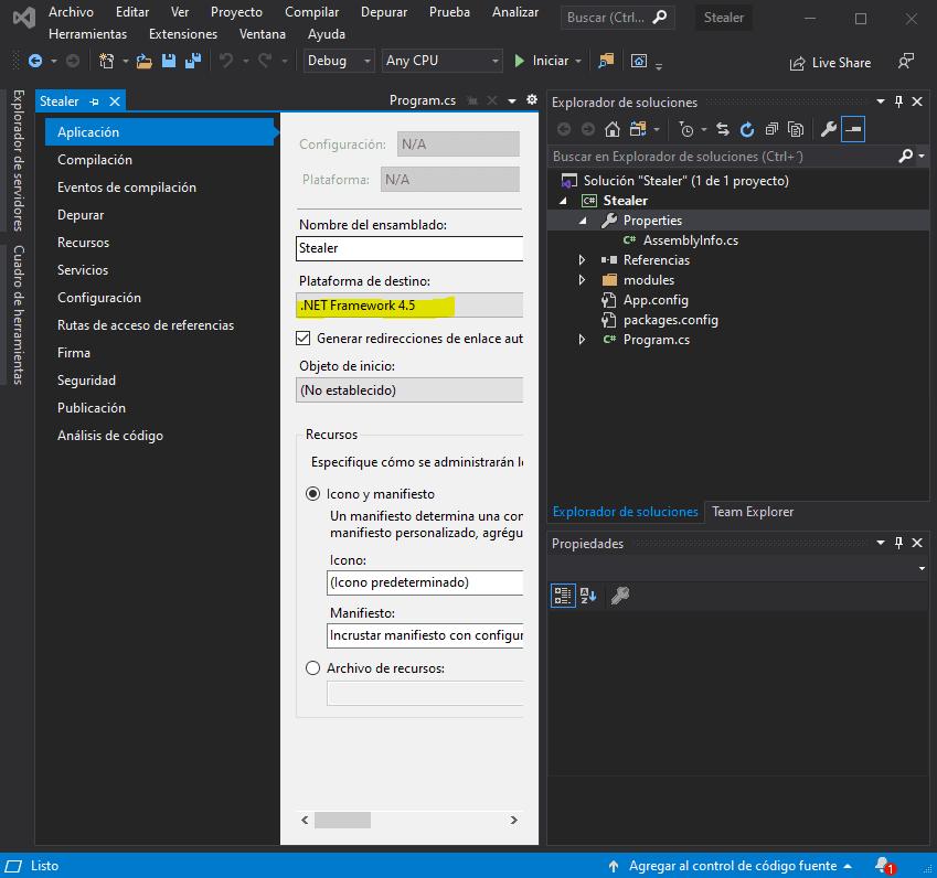 Error Visual Studio Net Framework 4.5