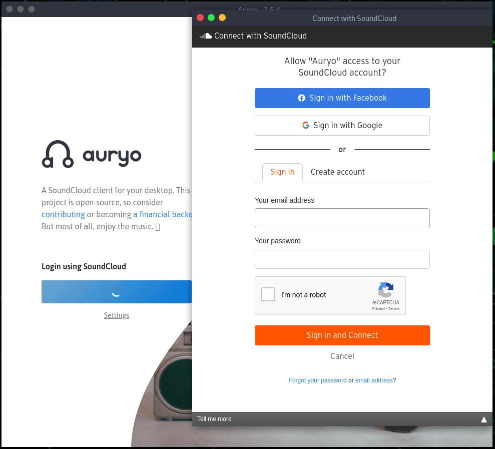 Iniciar sesión Soundcloud  en Linux