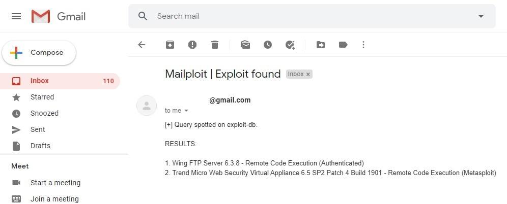 Notificar al correo sobre Exploit