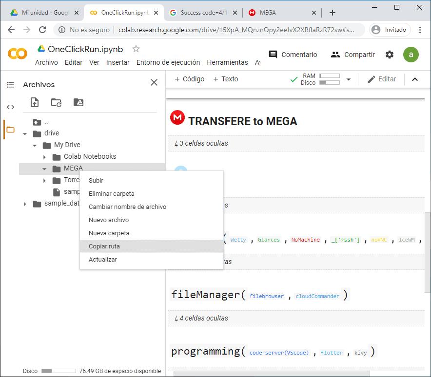 Transferir de Mega a GDrive