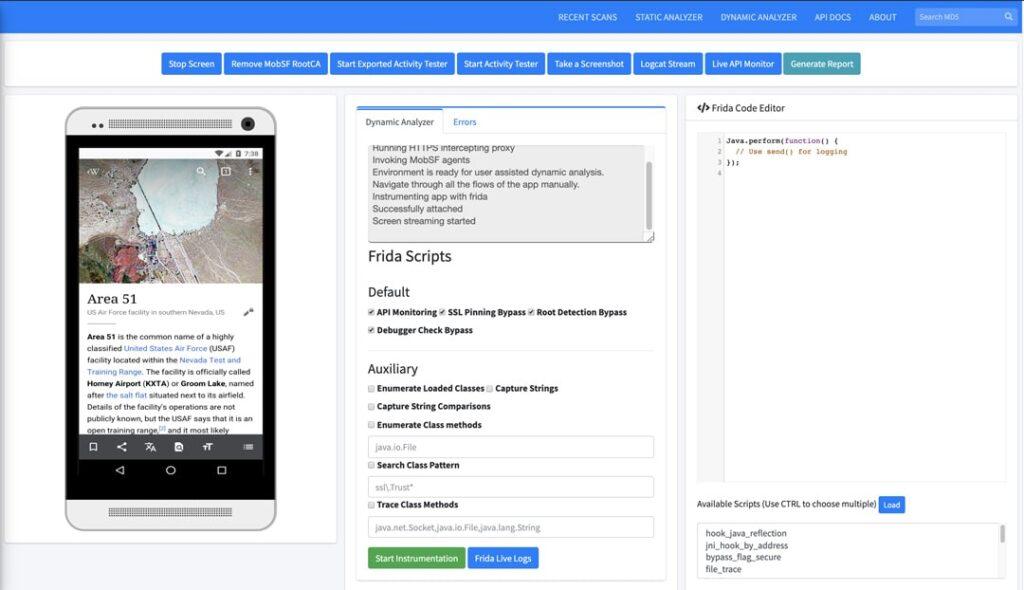 Análisis Dinámico MobSF Android