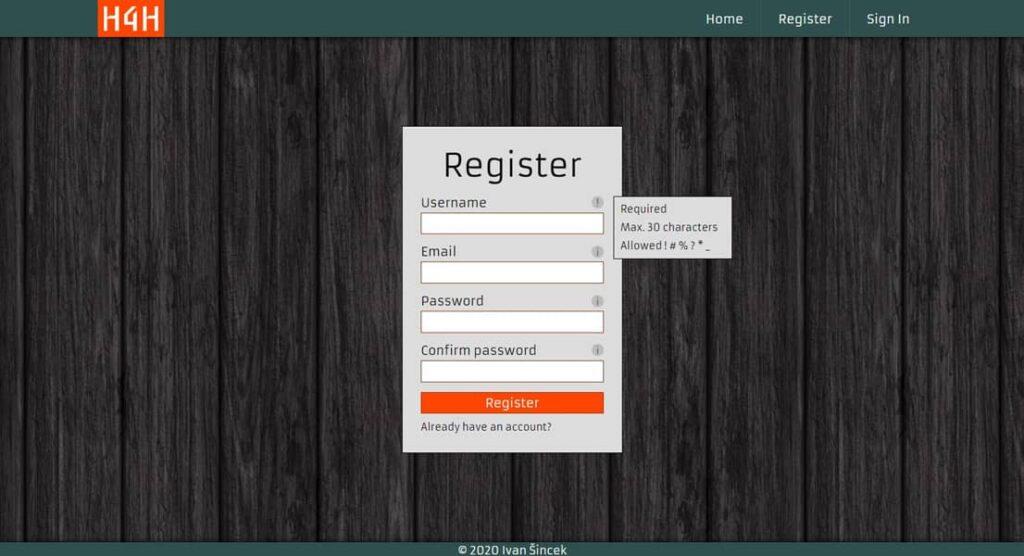 Página de registro secure-website