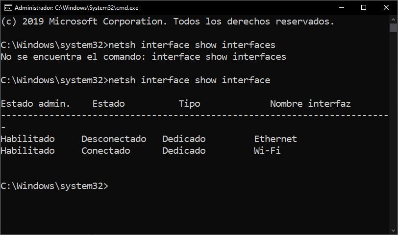 Comando netsh interface show interface
